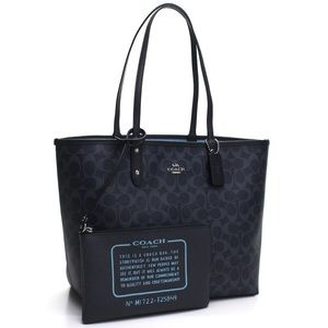 Coach Signature Reversible Tote in Navy
